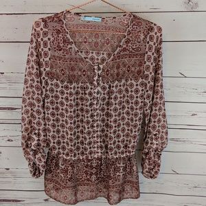 Maurices Red Boho Peasant Blouse Top